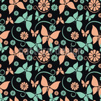 Vintage Butterflies Seamless Vector Pattern