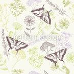 Heilpflanzen und Schmetterlinge Nahtloses Vektormuster