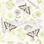 Herbal Plants And Butterflies Seamless Vector Pattern Design