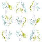 Lavendel Dill Nahtloses Vektormuster