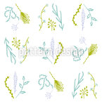 Lavender Dill Seamless Vector Pattern Design