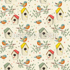 Bird House Seamless Vector Pattern Design