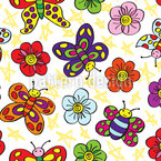 Flower Friends Seamless Vector Pattern Design