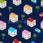 Isometric City Seamless Vector Pattern Design