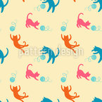 Cats Love To Play Seamless Vector Pattern Design