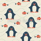 Glücklicher Pinguin Nahtloses Vektormuster