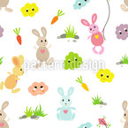 Bunny Friends Estampado Vectorial Sin Costura