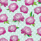 Peonies In Full Bloom Seamless Vector Pattern Design