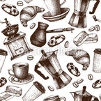 Vintage Coffee Seamless Vector Pattern Design