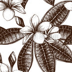 Frangipani Sketch Seamless Vector Pattern Design
