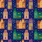Town At Night Seamless Vector Pattern Design