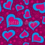 Crazy Hearts Seamless Vector Pattern Design