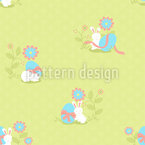 Busy Easter Bunny Seamless Vector Pattern