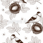 Bird In Nest Seamless Vector Pattern Design