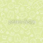 Childrens World Green Seamless Vector Pattern Design