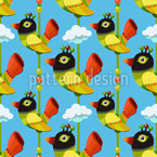 Funny Cartoon Birds Seamless Vector Pattern Design