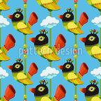 Lustige Cartoon Vögel Nahtloses Vektormuster