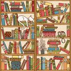 Nickerchen Zwischen Büchern Nahtloses Vektormuster