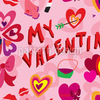 My Valentine Seamless Vector Pattern Design