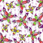 元気いっぱいの花 シームレスなベクトルパターン設計
