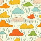 Clouds and Rain Seamless Vector Pattern Design