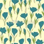 Açafrão Flores Design de padrão vetorial sem costura