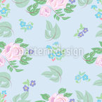 Roses And Florets Seamless Vector Pattern Design