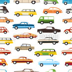 Coches Retro Estampado Vectorial Sin Costura