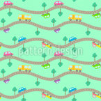 Roads and Cars Seamless Vector Pattern Design