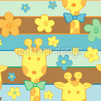 Giraffes in the Flowerbed Seamless Vector Pattern Design