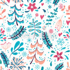 Winter Flowers and Snowflakes Repeat Pattern