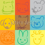 Animals In Squares Seamless Vector Pattern