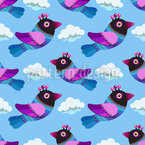 Funny Birds In The Clouds Repeat Pattern
