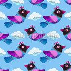 Lustige Vögel In den Wolken Nahtloses Vektormuster