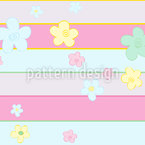 Fleurs Meet Stripes Motif Vectoriel Sans Couture