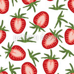 Sweet Strawberries Seamless Vector Pattern Design