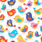 Glückliche Vögel Nahtloses Vektormuster