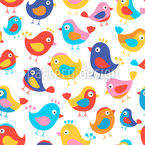 Pájaros felices Estampado Vectorial Sin Costura