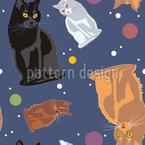 Weltraum Katzen Nahtloses Vektormuster