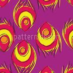 Fiery Peacock Feathers Seamless Vector Pattern Design