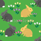 Rabbits On A Field With Crocus Pattern Design