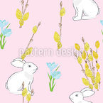 Easter Bunny And Flowering Willow Seamless Vector Pattern Design