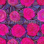 Feathers And Roses Seamless Vector Pattern Design