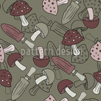 Mud Mushroom Dream Seamless Vector Pattern