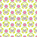 Mariposas Retro Y Flores Estampado Vectorial Sin Costura