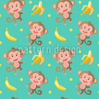 Funny Monkeys With Bananas Seamless Vector Pattern Design