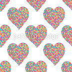 Hearts Of Dots Seamless Vector Pattern Design