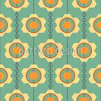 Strung Gear Wheel Flowers Vector Pattern