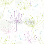 Flower And Dragonfly Seamless Vector Pattern Design
