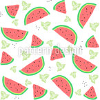 Watermelon And Mint Seamless Vector Pattern Design